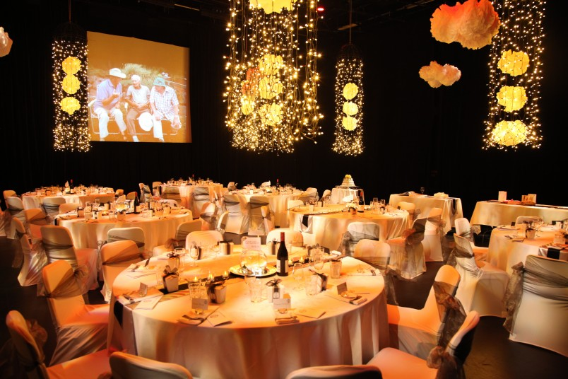 Event setup with tables in theatre
